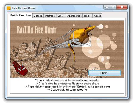 Рабочее окно RarZilla Free Unrar