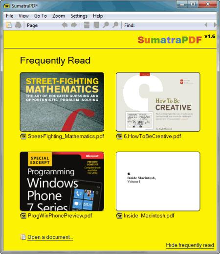 ��������, �������� � Sumatra PDF