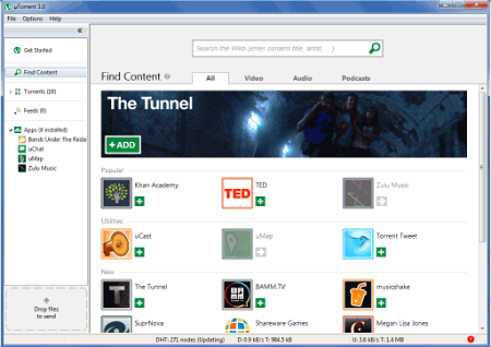 Главное окно µTorrent