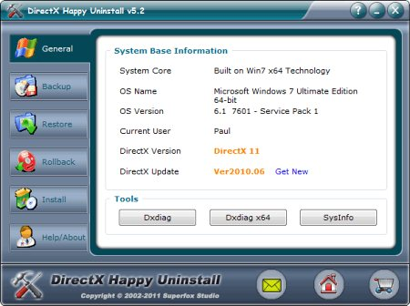 Интерфейс DirectX Happy Uninstall