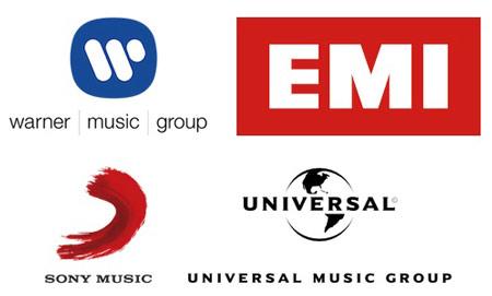 Крупнейшие звукозаписывающие компании: EMI, Warner, Universal, Sony