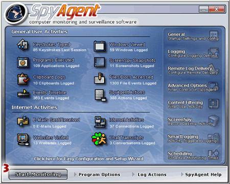 Рабочее окно Spytech SpyAgent