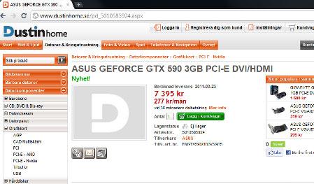 Скриншот страницы с ASUS GeForce GTX 590