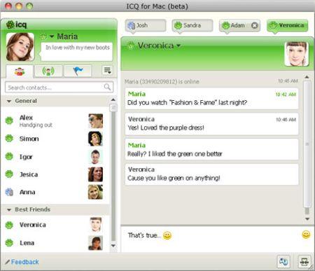 Интерфейс ICQ под Mac