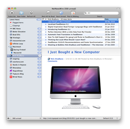 Скриншот NetNewsWire для Mac OS X