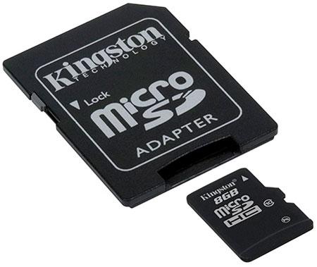 Карта памяти microSDHC Class 10 объемом 8 ГБ
