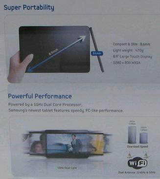 Информационный стенд дает представление о кое-каких характеристиках планшета