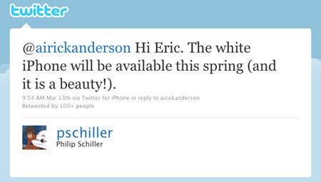 Твит Филипа Шиллера о белом iPhone