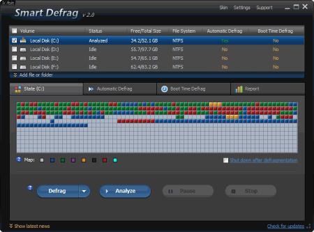 Скриншот главного окна SmartDefrag 2.0
