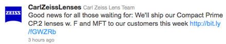 Carl Zeiss начинает поставки объективов Compact Prime CP.2 с байонетами F и Micro Four Thirds
