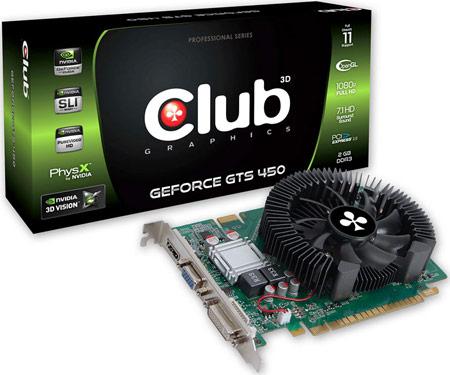 Club 3D удваивает объем памяти 3D-карты GeForce GTS 450