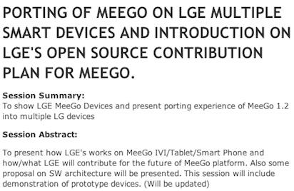 � ���, ��� LG ������� � ���-��������� ��������� ���������� ��� ����������� MeeGo, ��������� � ��������� �����������