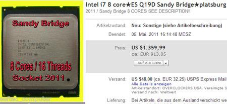 На eBay замечен инженерный образец процессора Sandy Bridge-EP