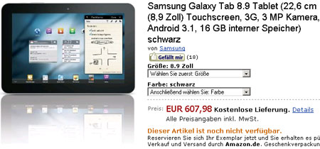 Samsung Galaxy Tab 8.9 оценен Amazon.de в 607 евро, а Galaxy Tab 10.1 — на 31 евро дороже