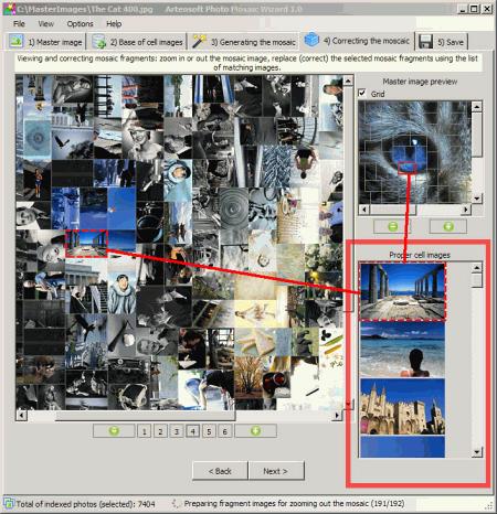 Интерфейс рабочего окна Artensoft Photo Mosaic Wizard