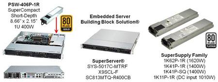 Компактный блок питания Supermicro PWS-406P-1R для серверов имеет высокий КПД