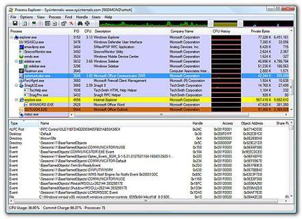 Главное окно Process Explorer