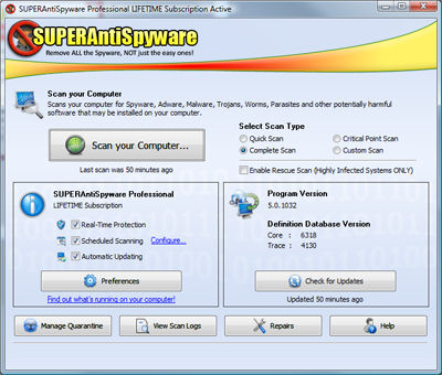 SUPERAntiSpyware 5.0