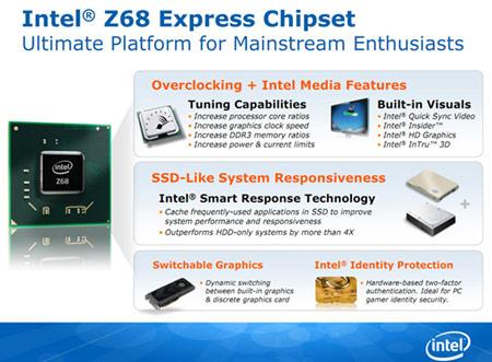 Набор системной логики Intel Z68 Express и серия твердотельных накопителей Intel SSD 311 представлены официально
