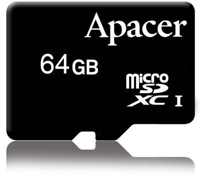 Карточка Apacer microSDXC объемом 64 ГБ развивает скорость 30 МБ/с