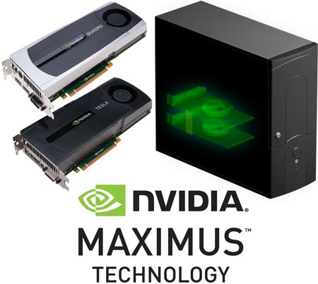 Технология NVIDIA Maximus объединяет возможности GPU NVIDIA Quadro и процессора-компаньона NVIDIA Tesla C2075