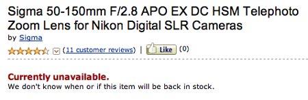 Начало поставок объектива Sigma 50-150 f/2.8 EX DC OS HSM отложено на неопределенный срок