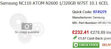В конфигурацию Samsung NC110 войдет процессор Atom N2600