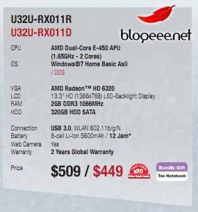 ASUS U32U на базе гибридного процессора AMD E-450 появится в следующем году