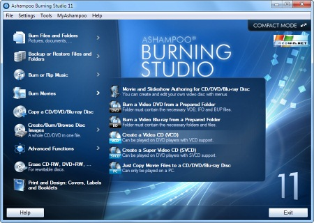 Скриншот программы Ashampoo Burn Studio 11