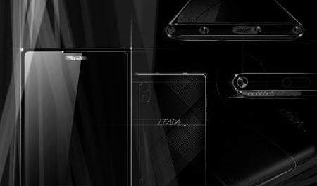 Набросок наглядно демонстрирует элементы дизайна PRADA Phone by LG 3.0