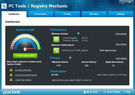 Интерфейс Registry Mechanic