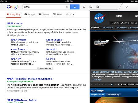 Поиск Google для iPad