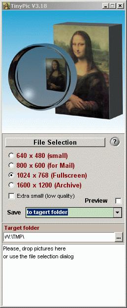 Интерфейс программы TinyPic