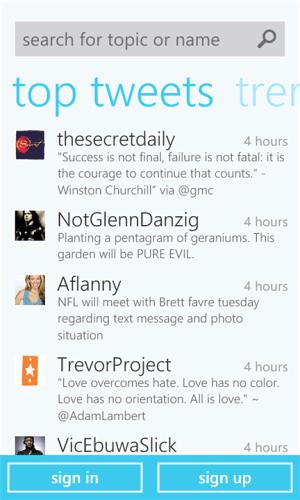 Windows Phone Marketplace Twitter