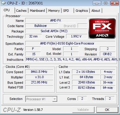 AMD FX-8150 разогнан до частоты 8,46 ГГц