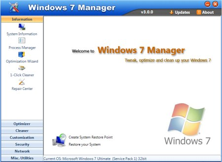 ���������������� ��������� ��������� Windows 7 Manager