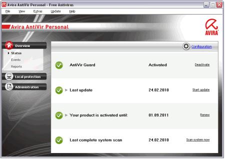 Интерфейс программы Avira AntiVir PE