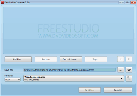 Интерфейс программы Free Audio Converter