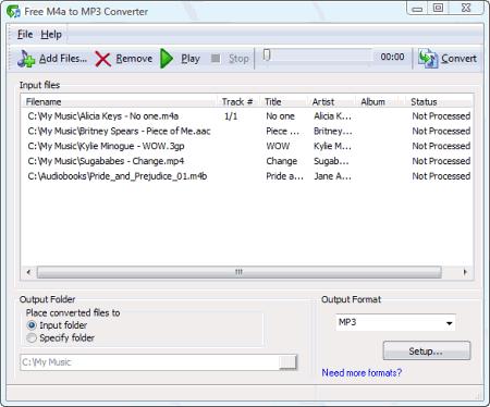 Интерфейс Free M4a to MP3 Converter