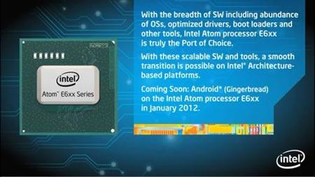 Intel �������, ��� � ������ 2012 ���� ���������� Atom E6xx ������� �� Android 2.3