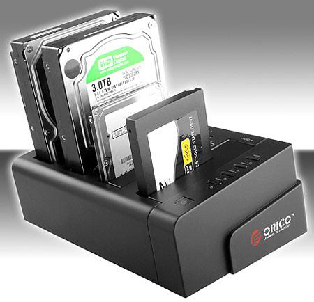 Начались продажи дока ORICO для четырех HDD, оснащенного интерфейсами USB 3.0 и eSATA
