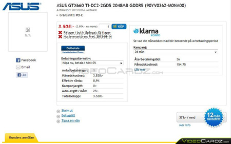 ASUS GeForce GTX 660 Ti DirectCU II в предложении шведских интернет-магазинов