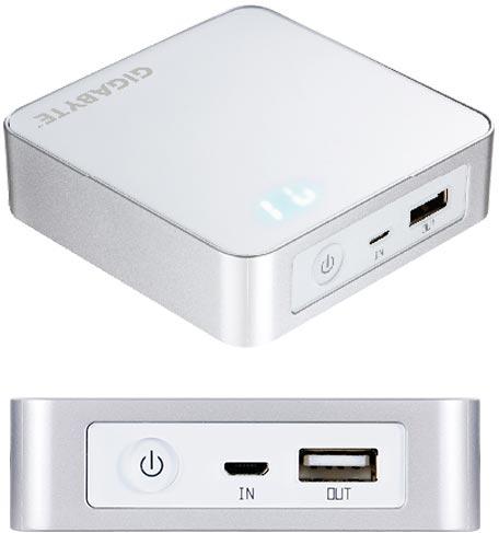 Емкость батареи мобильного зарядного устройства Gigabyte OTG G66B1 равна 6600 мА∙ч