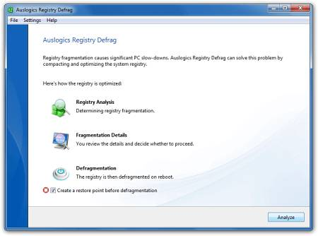�������� �������� ���� Auslogics Registry Defrag