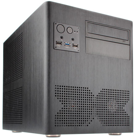 Габариты алюминиевого корпуса для ПК Xigmatek Gigas Micro-ATX Cube равны 278 x 396 x 322 мм