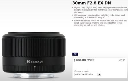 Объявлена цена объектива Sigma 30mm f/2.8 EX DN для беззеркальных камер