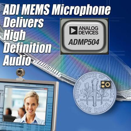 MEMS-микрофон Analog Devices ADMP504 характеризуется очень низким уровнем шума