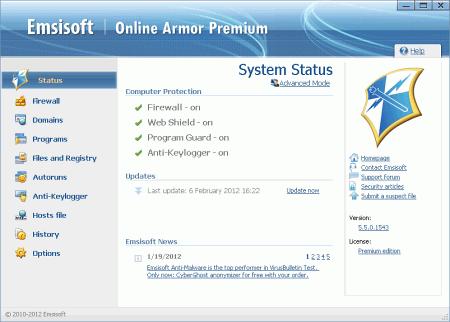 Рабочее окно программы Online Armor Free