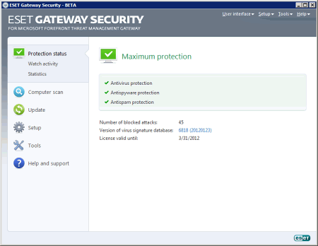 Интерфейс ESET NOD32 Gateway Security