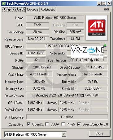 Температура GPU AMD Radeon HD 7970, разогнанного до 1,26 ГГц со штатной системой охлаждения, не превышает 68°С